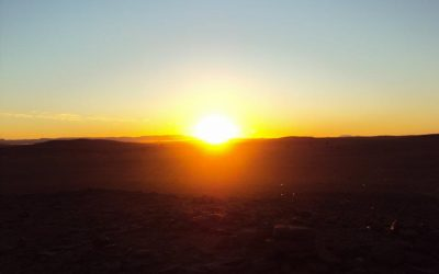 sunset and sunrise in Morocco Sahara Desert